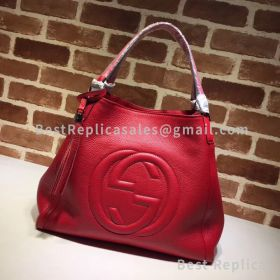 Gucci Soho Leather Tote Red 282309