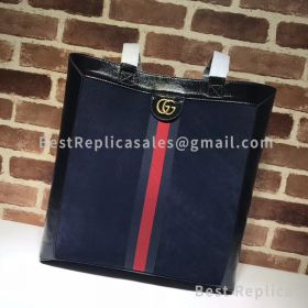 Gucci Ophidia Suede Large Tote Dark Blue 519335