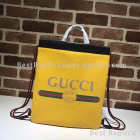 Gucci Gucci Print Small Drawstring Backpack Yellow 523586