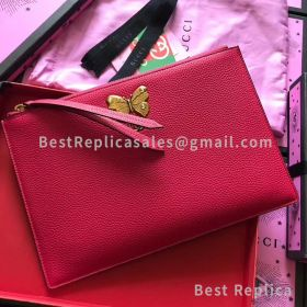 Gucci Butterfly Original Leather Clutch Red 499360