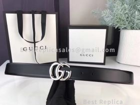 Gucci Leather Black Belt With Double G Buckle 30mm