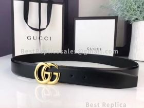 Gucci Leather Belt Black With Double G Buckle 30mm