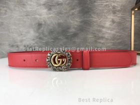 Gucci Leather Belt With Double G And Crystals Red 30mm
