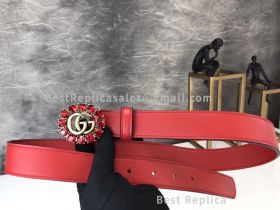 Gucci Red Leather Belt With Double G And Crystals 30mm