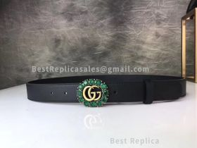 Gucci Leather Black Belt With Crystals And Double G 30mm
