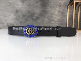 Gucci Leather Belt Black With Crystals And Double G 30mm