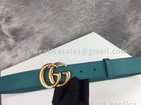 Gucci Leather Belt With Double G Buckle Cyan 30mm