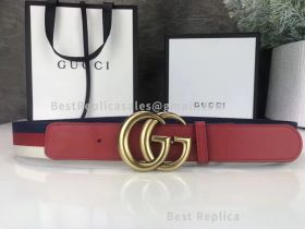 Gucci Leather Belt With Double G Buckle Red 40mm