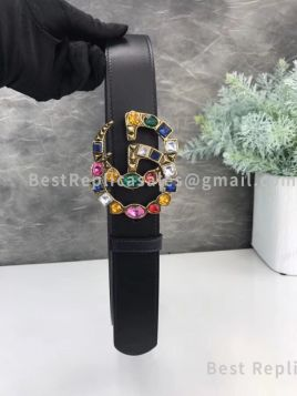 Gucci Black Leather Belt With Crystal Double G Buckle 40mm