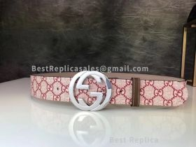 Gucci GG Supreme Belt With G Buckle Pink 40mm