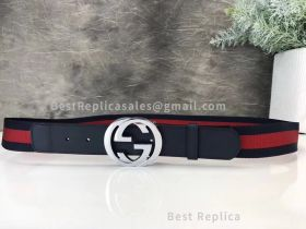 Gucci Web Belt With Double G Buckle Green And Red Web 40mm