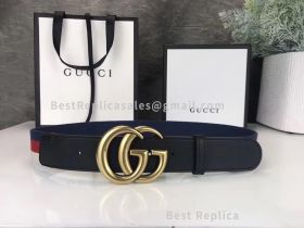 Gucci Sylvie Web Belt With Double G Buckle Black 40mm