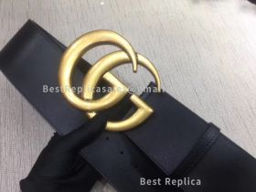 Gucci Wide Leather Belt With Double G Black 70mm