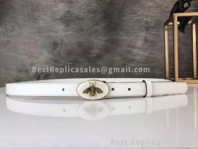 Gucci Leather Belt With Bee Buckle White 20mm