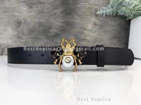 Gucci Leather Belt With Bee Black 30mm