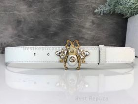 Gucci Leather Belt With Bee White 30mm
