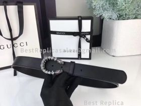 Gucci Leather Belt With Crystal Dionysus Buckle Black 30mm