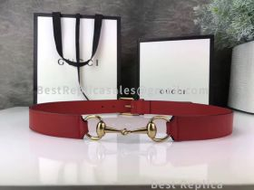 Gucci Leather Belt With Horsebit Red 30mm