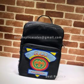 Gucci Medium Backpack With Gucci 80S Patch Black 536724