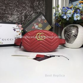 Gucci GG Marmont Quilted Leather Belt Bag Red 491294