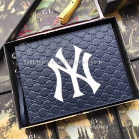 Gucci Leather Pouch With NY Yankees Patch Blue 547796