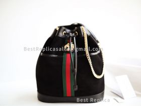 Gucci Rajah Suede Medium Bucket Bag Black 553961