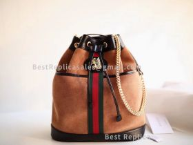 Gucci Rajah Suede Medium Bucket Bag Brown 553961