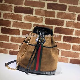 Gucci Rajah Suede Medium Bucket Bag Chestnut 553961