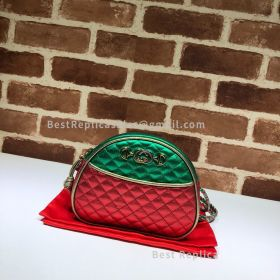 Gucci Mini Laminated Leather Bag Green And Red 534951