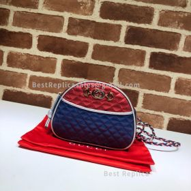 Gucci Mini Laminated Leather Bag Blue And Red 534951
