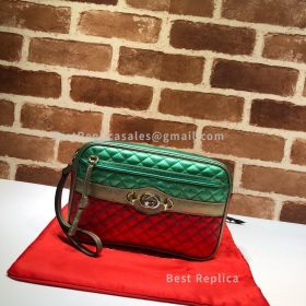 Gucci Trapuntata Matelasse Leather Shoulder Bag Green And Red 540985