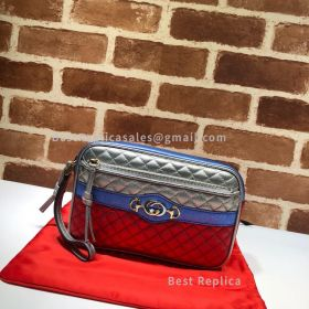 Gucci Trapuntata Matelasse Leather Shoulder Bag Silver And Red 540985