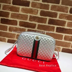 Gucci Laminated Leather Small Shoulder Bag Silver 541051