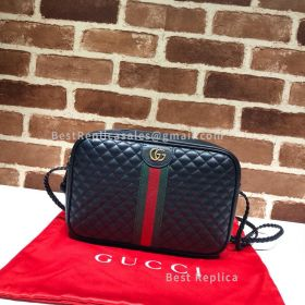 Gucci Quilted Leather Small Shoulder Bag Black 541051