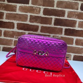 Gucci Laminated Leather Small Shoulder Bag Purple 541061
