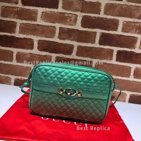Gucci Laminated Leather Small Shoulder Bag Green 541061