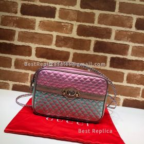 Gucci Laminated Leather Small Shoulder Bag Pink And Blue 541061