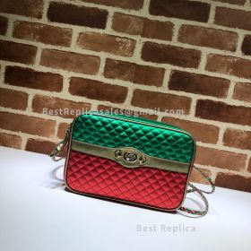 Gucci Laminated Leather Small Shoulder Bag Green And Red 541061