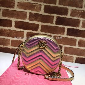 Gucci GG Marmont Mini Round Shoulder Bag Glod And Pink 550154