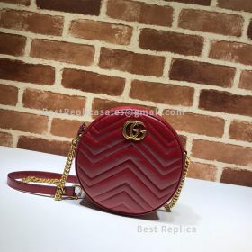 Gucci GG Marmont Matelasse Leather Mini Round Shoulder Bag Red 550618