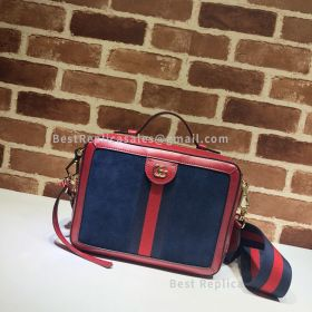 Gucci Ophidia Small Suede Shoulder Bag Blue 550622