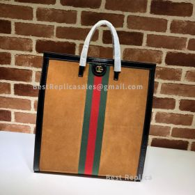 Gucci Ophidia Suede Large Tote Chestnut 524536