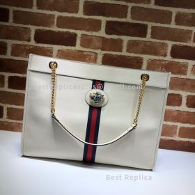 Gucci Rajah Leather Large Tote White 537219