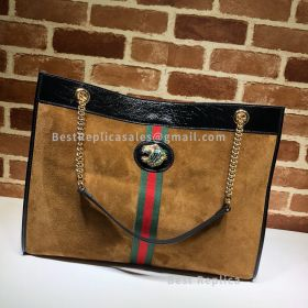 Gucci Rajah Suede Large Tote Chestnut 537219