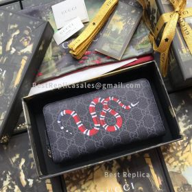 Gucci Kingsnake Print GG Supreme Zip Around Wallet Black 451273