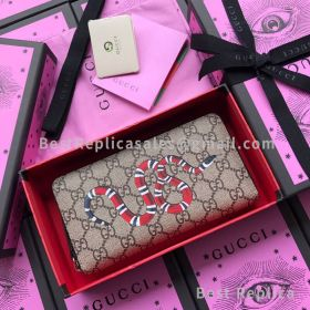 Gucci Kingsnake Print GG Supreme Zip Around Wallet Khaki 451273