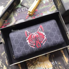 Gucci Wolf Print GG Supreme Zip Around Wallet Black 451273