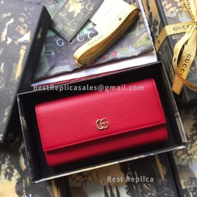 Gucci Leather Continental Wallet Red 456116