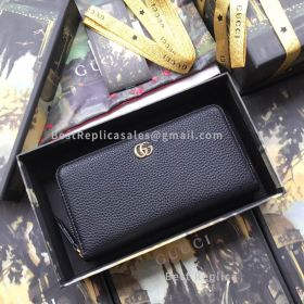 Gucci Leather Zip Around Wallet Black 456117