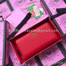 Gucci Leather Zip Around Wallet Red 456117